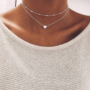 Heart Necklace 2Pcs-Silver And Gold.Click hear for more beautiful layered necklaces.Shop all musthave jewellery by aphrodite.Free worldwide shipping.