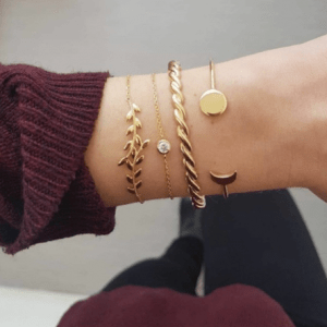 armbanden set, 4 stuks, goud, kristal, fashion