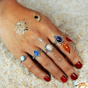 ring set, gekleurde steentjes, sieraden,musthave, fashion,accessoire