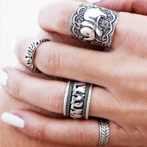 4 Pcs Elephant Ring Set. click hear to shop more beautiful silver rings. Shop all musthave jewellery by aphrodite. Free worldwide shipping and gift.