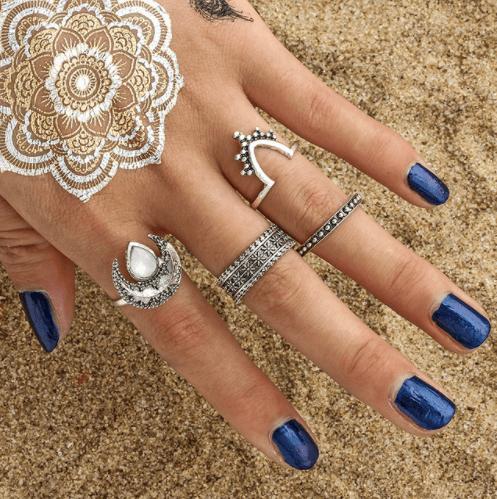 4 Stks Opal Ringset, sieradenset,juwelenset,opal,musthave