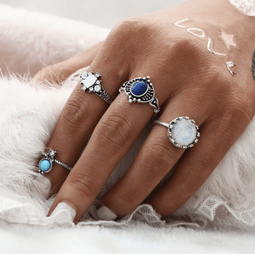 4 Pcs Stones Ring Set.click hear to shop more beautiful rings. Shop all musthave jewellery by aphrodite. Free worldwide shipping and gift.
