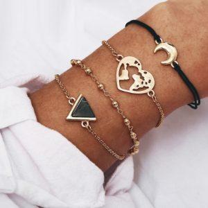minimalistische armbanden set, 4 stuks, maan, wereldkaart