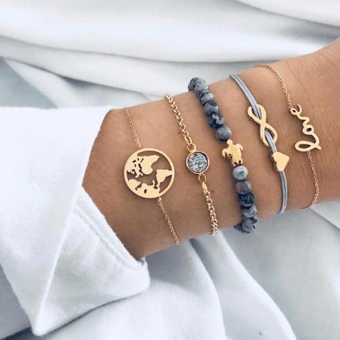 armbanden set, 5 stuks , goud, world,schildpad,hartje,love,infinity