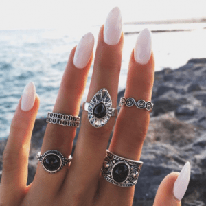 5 stuks, ringset,blauwe stenen, sieraden,musthave