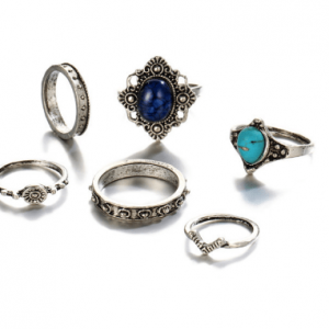 6 Pcs Blue Stone Ring Set.click hear to shop more beautiful rings. Shop all musthave jewellery by aphrodite. Free worldwide shipping and gift