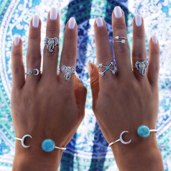 6 Pcs Boho Elephant Ring Set.click hear to shop more beautiful rings. Shop all musthave jewellery by aphrodite. Free worldwide shipping and gift.