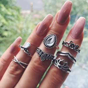 7 Pcs Silver Opal Ring Set.click hear to shop more beautiful rings. Shop all musthave jewellery by aphrodite. Free worldwide shipping and gift.