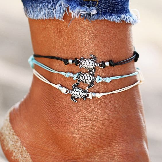 anklet set, turtle, jewellery, black, blue, white