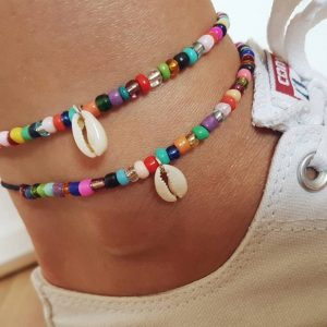 anklet ,beads, colorful, shell