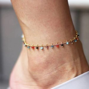 anklet , colourfull, beads, gold