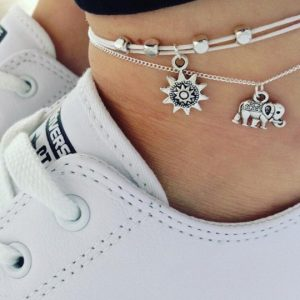 anklet, elephant, sun, silver, jewellery
