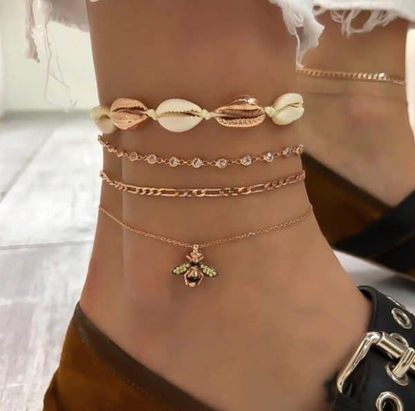 gouden enkelbandjes set, bij, schelpen, subtiel, minimalistisch