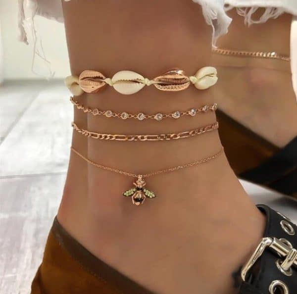 ankle bracelet, gold anklets, bee, shells, jewellery