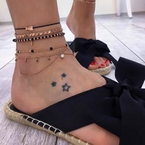 anklet set, black, gold, fish, rope, jewellery, jewelry, women