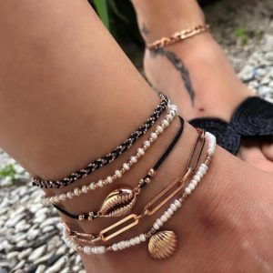 anklet set, black, white, gold, shells