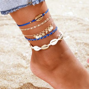 anklet set,blue, shell, coin
