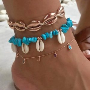 anklet set, blue, gold, crystals, colourful