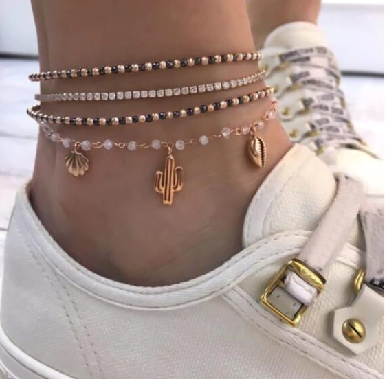 anklet set, cactus, gold, jewellery