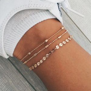 anklet set, coin, chain, gold, silver
