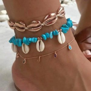 anklet set, gold, blue, shell anklet, crystals