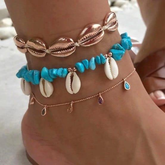 anklet set, gold, blue, shell anklet, crystals