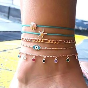 anklet set, evil eye, gold, blue