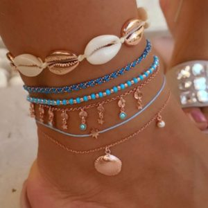 anklet set, blue, evil eye, gold