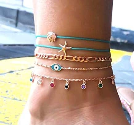 anklet set, evil eye, gold, blue