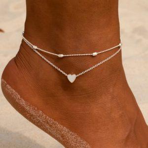 enkelbandje, set, hartje, zilver, goud, sieraden