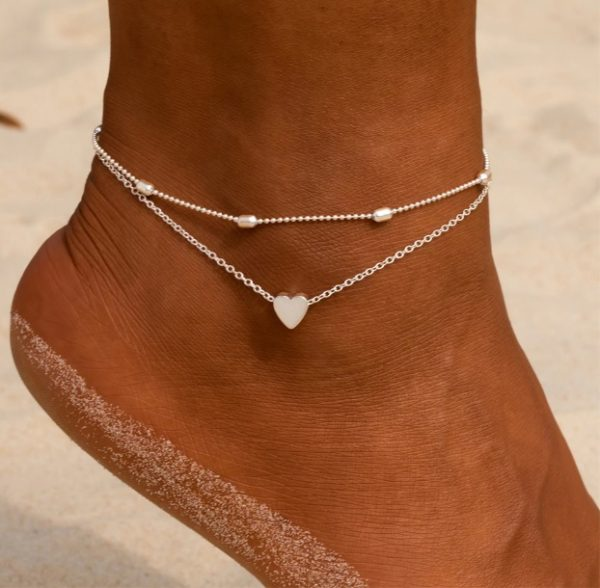 anklet set, heart, chain, silver, gold. jewellery
