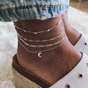 anklet set, moon , minimalist