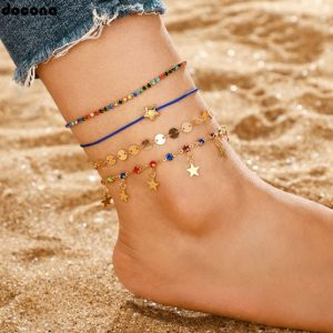 Anklet set, crystal, colourful, blue