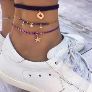 anklet set, purple, gold
