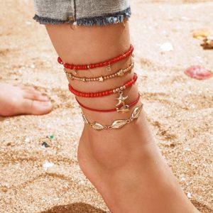 enkelbandjes set, rood, sieraden, gouden hangers, trendy