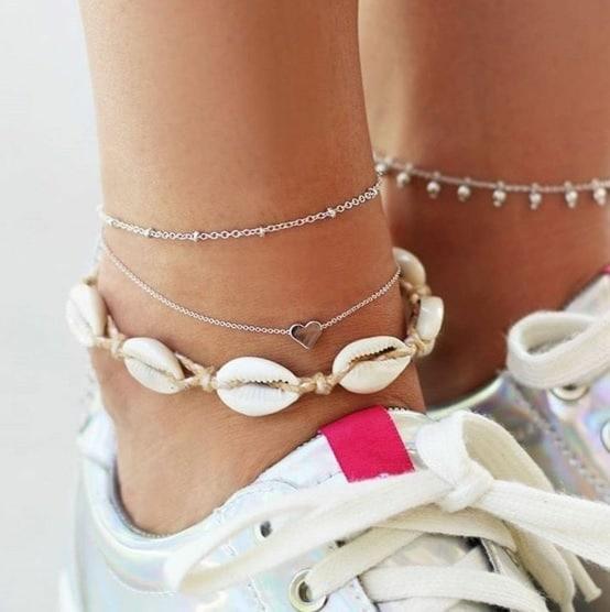 anklet set, silver, shells, delicate, minimalist