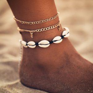 anklet set, star, shells, jewellery