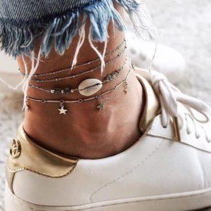 anklet set, stars, silver