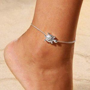 anklet, ankle bracelet, turtle, silver, jewellery