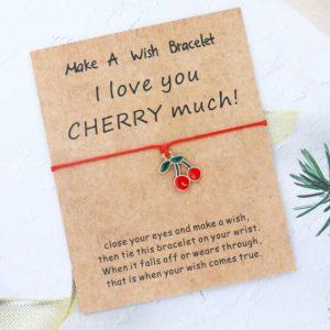 armband met betekenis, rood, touw, kers, sieraad, sieraden, jewellery, jewelry, dames, boodschap, I Love You