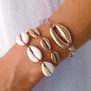 bracelet set , beach, shells, black, rope