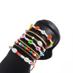 armbanden set, kralen, sieraden, dames, accessoires, bloemen, gekleurde armbanden