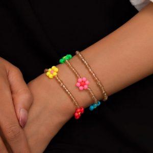 armbanden set, kralen, bloemen, sieraden, dames, accessoires, goud