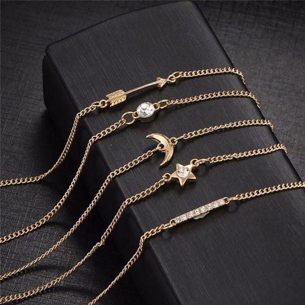 5 Pcs minimalist Bracelet Set, star, moon, bar, arrow, crystal
