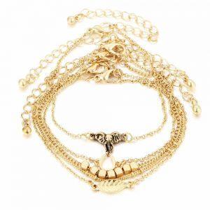 armbanden set, 5 stuks, olifant,goud,sieraden