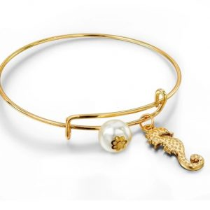 bangle bracelet, seahorse, pearl, gold, jewellery