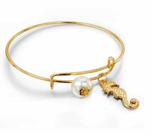 bangle armband, zeepaard, goud, parel, sieraden