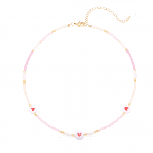 beads necklace, heart, pink, jewellery, nickel free
