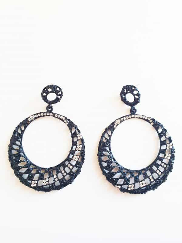 big earrings, statement, black, crystal, diamonds, female, jewellery, jewelry