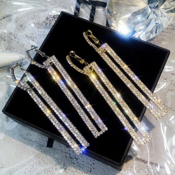 lange statement oorbellen, groot, kristallen, diamanten, goud, zilver, sieraden